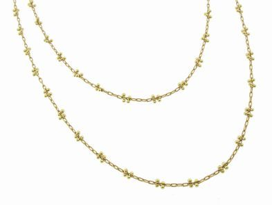 Ten Thousand Things Long Pinned Gold Bead Chain - 36