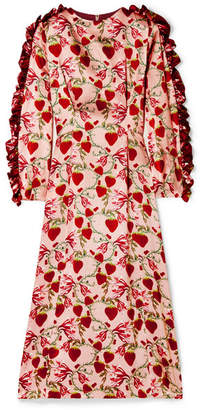 Mother Of Pearl Wanda Ruffled Printed Silk Satin Midi Dress Pastel Pink