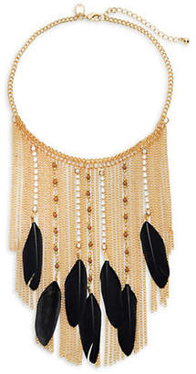 Lord & Taylor DESIGN LAB Feather-Embellished Bib Necklace