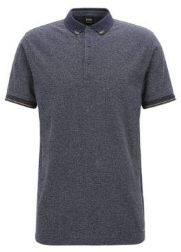 BOSS Hugo Denim-look polo shirt contrast details S Dark Blue