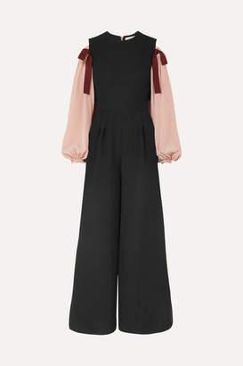 Roksanda Bow-embellished Cold-shoulder Crepe Jumpsuit - Black