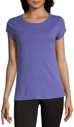 Liz Claiborne Short Sleeve Round Neck T-Shirt-Womens