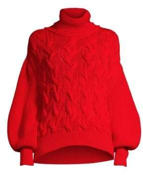 BOSS Wool Cable Knit Turtleneck Sweater