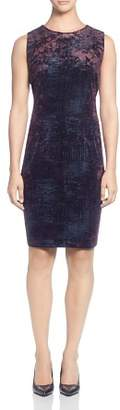 T Tahari Sleeveless Foil Print Velour Dress