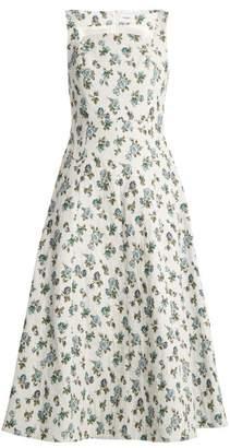 Erdem Polly Floral Jacquard Dress - Womens - Blue Print