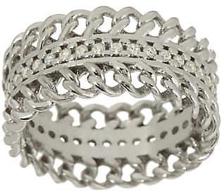 Diamonique Italian Silver Curb Design Band RingSterling