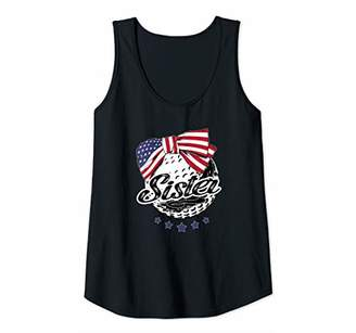 Womens Golf Sister American Flag Cute Funny Softball Tee Tank Top