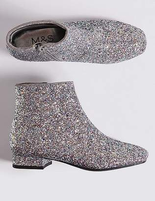 Marks and Spencer Kidsâ Sparkly Glitter Ankle Boots (13 Small - 6 Large)