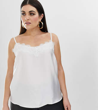 Outrageous Fortune Plus lace trim cami in white