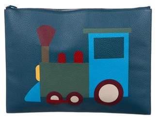 Moynat Leather Train Clutch