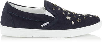 Jimmy Choo GROVE Navy Denim Suede Slip On Trainers with Silver and Gunmetal Metallic Multi Metal Stars