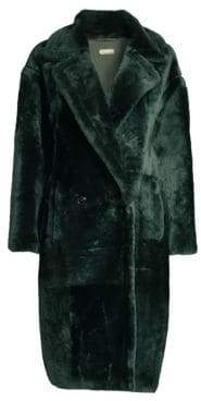 Anne Vest Cozy Double-Breasted Long Shearling Coat