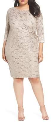 Alex Evenings Embellished Illusion Lace Shift Dress