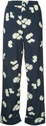 Ganni wide leg floral trousers