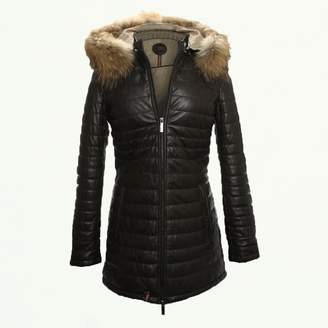 Oakwood Popping Quilted Brown Leather Fur Trim Jacket