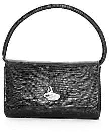 Little Liffner Women's Mini Swirl Lizard-Embossed Leather Baguette