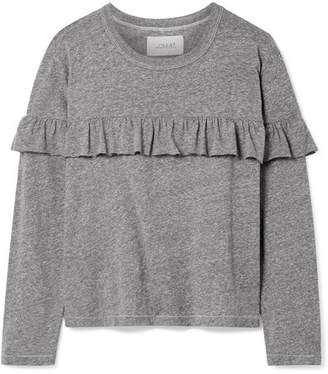 The Great The Ruffle Stretch-jersey Top - Gray