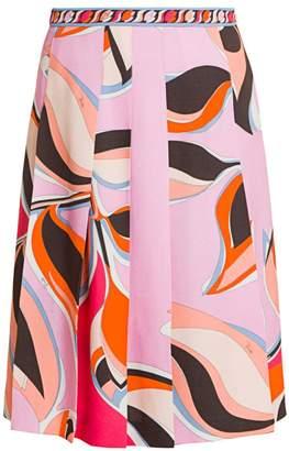 Emilio Pucci Heliconia-Print Pleated Midi Skirt