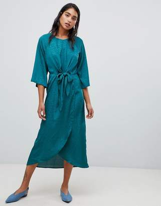 Vila knot front midi wrap dress in teal
