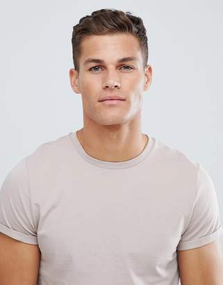 Asos DESIGN t-shirt with roll sleeve in gray