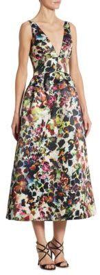 ML Monique Lhuillier Floral-Print V-neck Dress $395 thestylecure.com