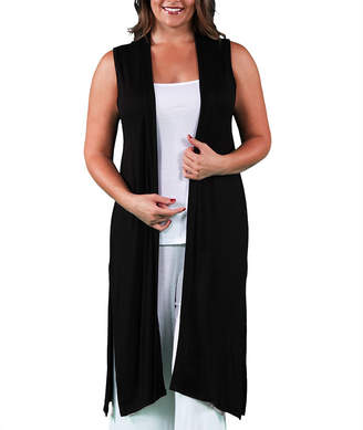 24/7 Comfort Apparel Sleeveless Long Shrug Cardigan-Plus