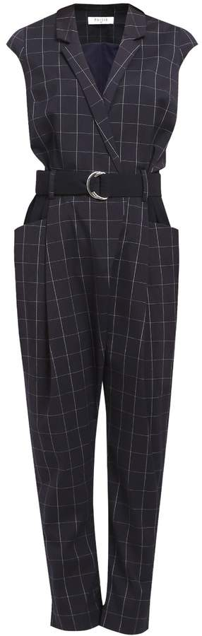 PAISIE - Checked Jumpsuit with Cap Sleeves
