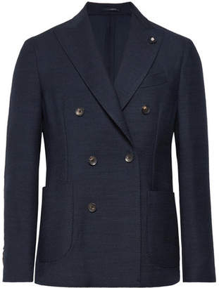 Lardini Storm-Blue Double-Breasted Wool Blazer