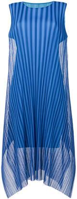 Pleats Please Issey Miyake handkerchief hem sleeveless dress