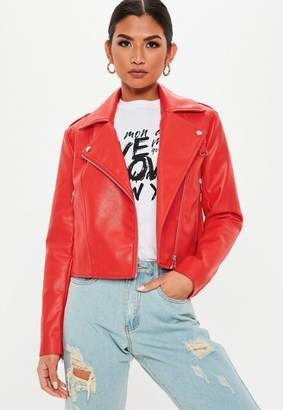 Missguided Red Faux Leather Biker Jacket