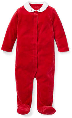 Ralph Lauren Velour Collar Footie Playsuit, Size 3-9 Months
