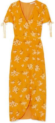 Madewell Wrap-effect Floral-print Silk Midi Dress - Marigold