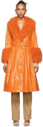 Saks Potts Orange Shearling Foxy Gloss Coat