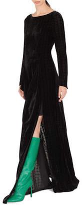 Akris Round-Neck Long-Sleeve Burnout Velvet Evening Gown w/ Side Slit