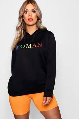 boohoo Plus Woman Rainbow Hoody