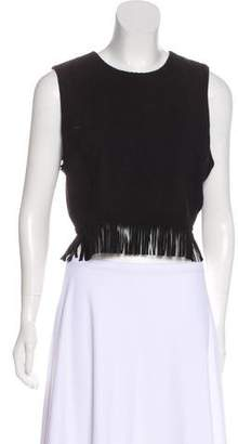 Tamara Mellon Suede Fringed Crop Top
