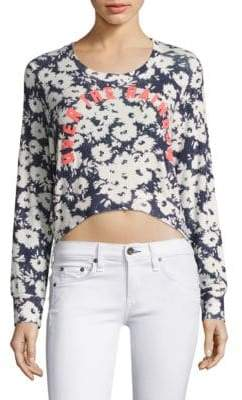 Sundry Over The Rainbow Floral-Print Sweater