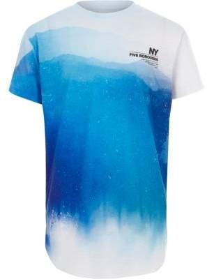 River Island Boys blue fade 'NY' curved hem T-shirt