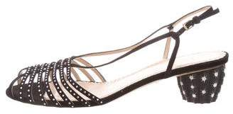 Charlotte Olympia Embellished Suede Sandals