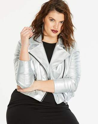 Fashion World Metallic Faux Leather Biker Jacket