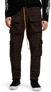 RHUDE Men's Houndstooth Flannel Cargo Trousers - Brown