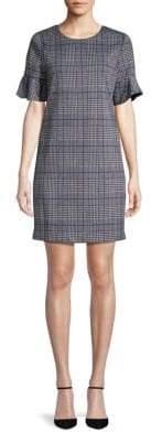 Calvin Klein Flutter Sleeve Plaid Dress