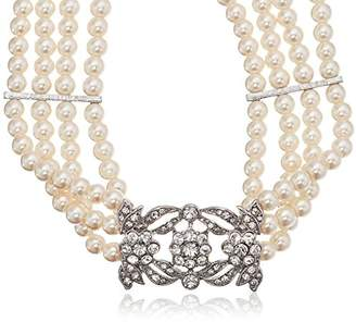 Kenneth Jay Lane Bride Four Row Statement Simulated Cream Crystal Pearl Strand Necklace