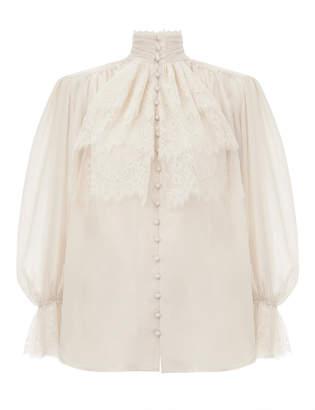 Zimmermann Verity Lace High Neck Shirt