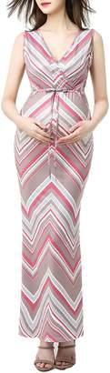 Kimi and Kai Natalie Chevron Print Maxi Maternity Dress