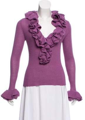 Trina Turk Ruffled Long Sleeve Sweater