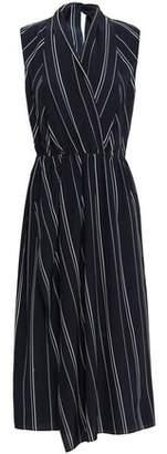 Vince Wrap-effect Striped Silk Crepe De Chine Midi Dress