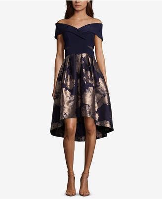 Xscape Evenings Petite Off-The-Shoulder Contrast Floral Dress