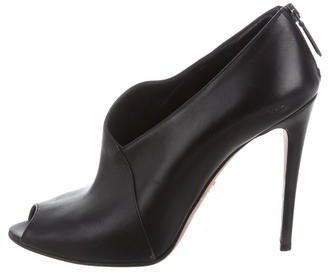 prada Prada Leather Peep-Toe Booties