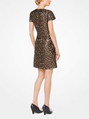 Michael Kors Metallic Leopard Jacquard Dress